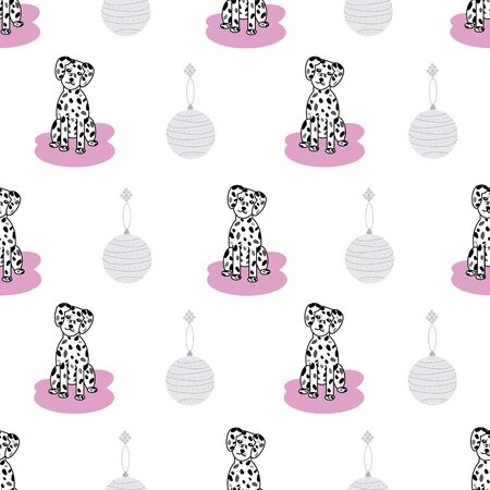 Cute adorable dalmatian puppy dogs with head tilt vector seamless repeat pattern with christmas baubles in pastel colors with dots and lines and pink on white background