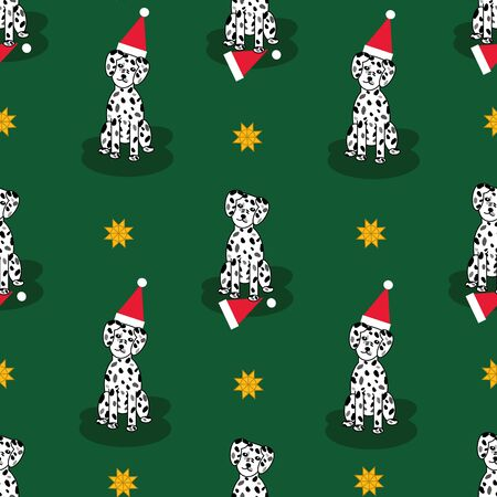 Adorable christmas dalmatian puppy seamless repeat pattern with santa hats and yellow stars on green background Ilustrace