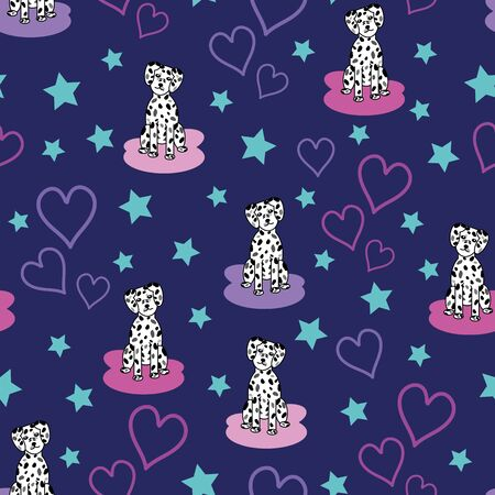 Lovely cute vector dalmatian puppy seamless repeat pattern with pink and light purple line art hearts and blue stars on dark purple background Ilustrace