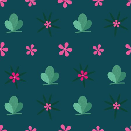 Vector modern abstract stylized cactus and tropical flowers seamless repeat pattern in pink and green shades on dark green background in paper cut style Illusztráció