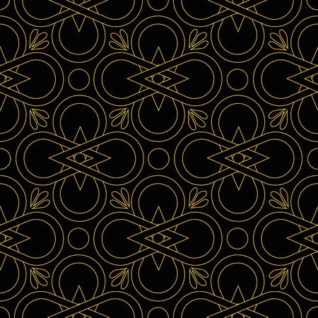 Vector art deco style floral seamless repeat pattern with gold like lines flower blossoms on black background