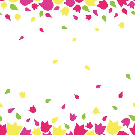 Vector beautiful colorful feminine floral tulip flower rain seamless repeat pattern with flower blossoms in pink, purple, yellow and green on white background in paper cut style Ilustración de vector