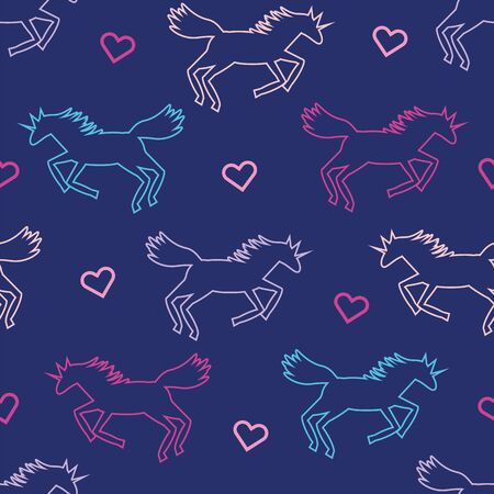 beautiful colorful line art silhouette unicorn kids seamless repeat pattern in pink, purple and blue on dark blue background with hearts Ilustrace
