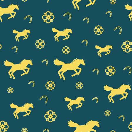 vector beautiful elegant horses seamless repeat pattern with flower blossoms and horseshoes on dark teal background