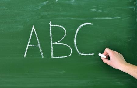 writing abc on the blackboard photo