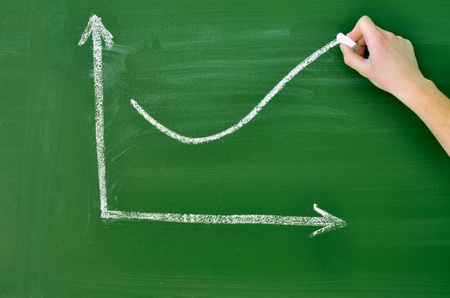 business graph of growth on blackboard photo