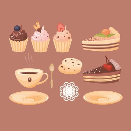 벡터 컵 커피, 케이크 및 컵 케이크의 집합입니다. 숟가락, 받침 및 냅킨을 사용하여 다양한 변형을 얻을 수 있습니다. 일러스트