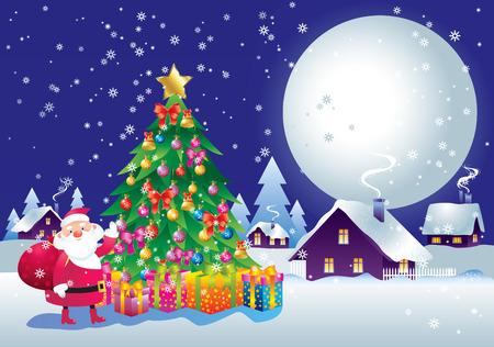 milagre: Celebratory background on the topic of Christmas and New Year. Ilustração