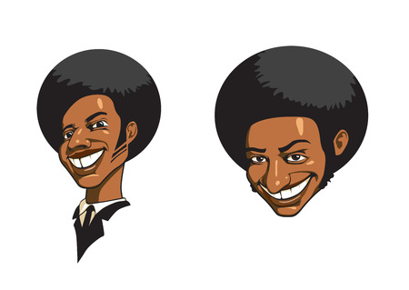 Two portraits of black men laughing Stock Vector - 8380234