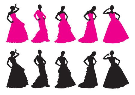 Silhouettes de filles de robes de mariée Banque d'images - 8380238