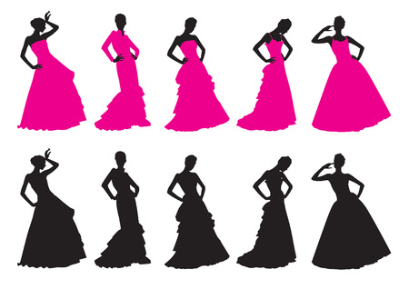 Silhouettes of girls in wedding dresses