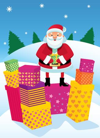 Jolly Santa Claus gives gifts Stock Vector - 8380235