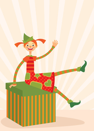 Merry Christmas elf welcomes sitting on a huge box with a gift. Vector