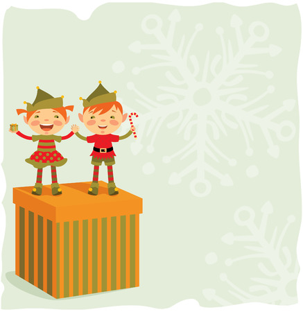 Two cute elf wishes Merry Christmas Vector