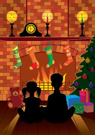 bambini seduti: Bambini seduti davanti al caminetto nella notte di Natale in attesa di Babbo Natale Vettoriali