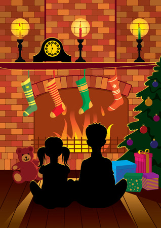 family living room: Children sitting by the fireplace on Christmas night in anticipation of Santa Claus