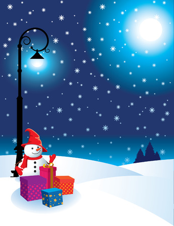 Winter landscape Christmas with snowmen and presents. Stock Vector - 8380272