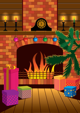 A room with a fireplace on the night of Christmas.