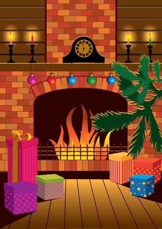 Een kamer met een open haard op de nacht van Kerstmis.