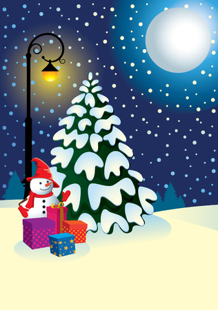 Snowman and Christmas tree for winter lantern in the Christmas night. Vector
