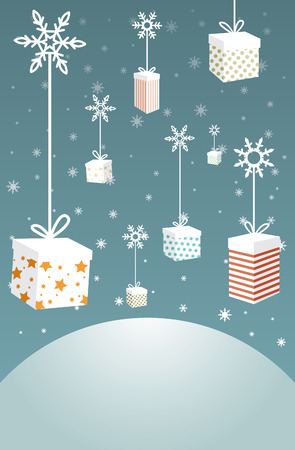 descend: Christmas gifts with ribbons tied to the snowflakes descend from the sky.