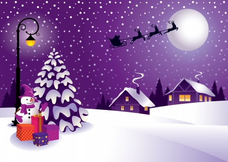Winter Christmas  landscape  in a country style. Vector