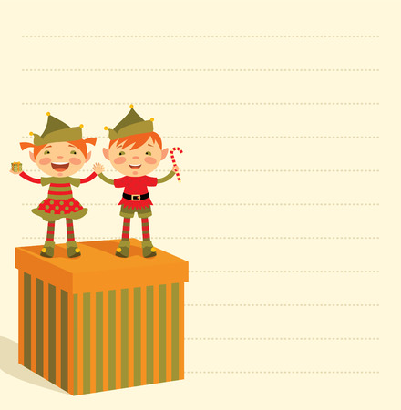 Funny Christmas elves with a great gift