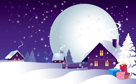 Rural landscape in the Christmas night. Vector