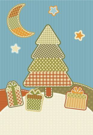 sewing box: Christmas illustration in the style of patchwork.