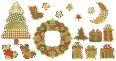 Christmas character set stylized patchwork. Stock Vector - 8380296