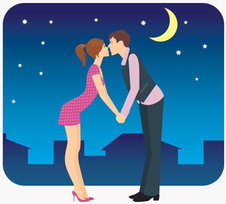 Lovers kissing in the night meet. Vector