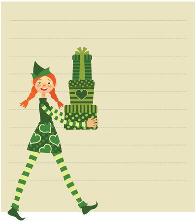 christmas list: Cute Christmas elf bearing gifts