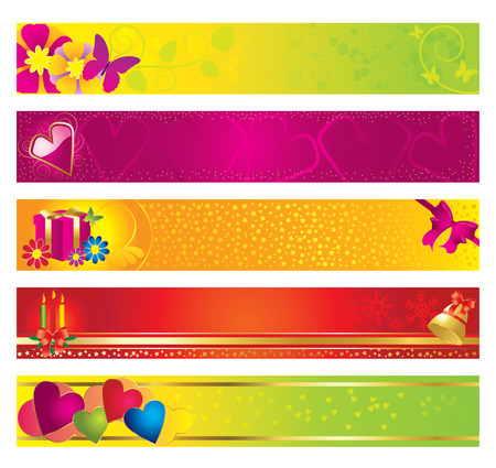 Festive banners on the theme of Christmas, Valentine's Day. Stock Vector - 8380294