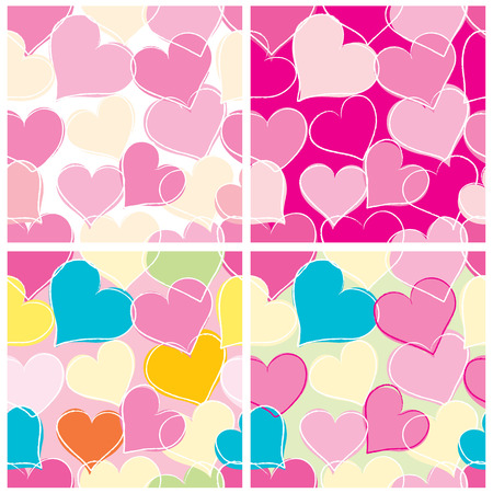 A set of four bright seamless background with hearts. Vector