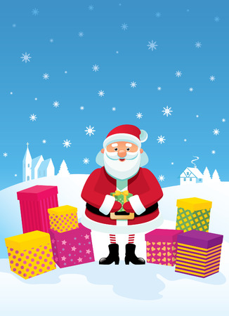 Funny Santa Claus gives gifts stand against the rural landscape Stock Vector - 8380287