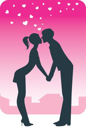 innamorati che si baciano: Giovane coppia baciare una data