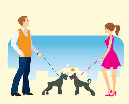 Meeting on a walk during the dog-walking. Stock Vector - 8380330