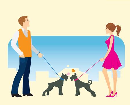 Vergadering op een wandeling tijdens de dog-walking.