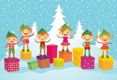 duendes de navidad: Elfos divertidos desean una feliz Navidad