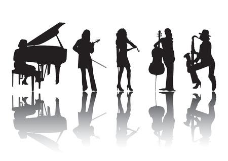 cello: Sagome di donne musicisti suonare diversi strumenti Vettoriali