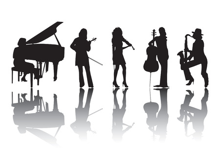 Silhouettes of women musicians playing different instruments