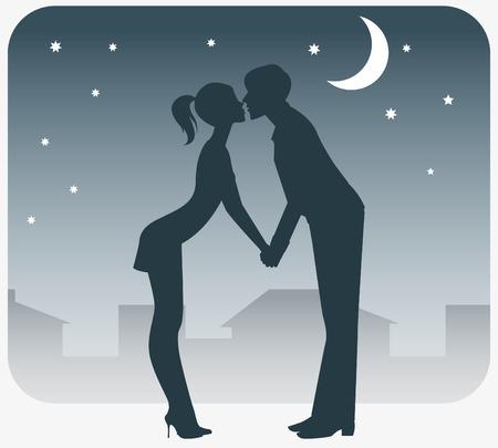 In love with a boy and girl kissing on a date. Vektoros illusztráció