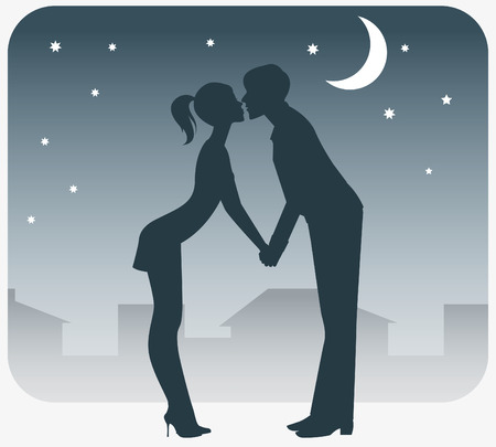 In love with a boy and girl kissing on a date. Vector