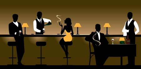 bartender: Hommes et femmes qui reposent dans la barre de la nuit. Illustration