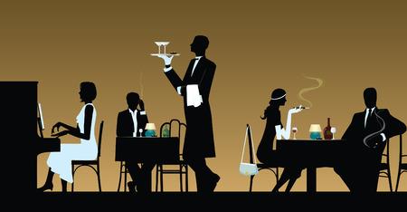 pianist: People resting in night restaurant Illustration