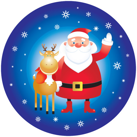 Santa Claus and reindeer Stock Vector - 8380323