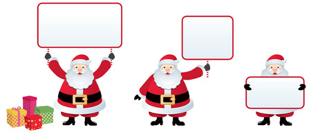 A set of Santa Claus each holding a streamer with the field for a celebratory Christmas message. Vector
