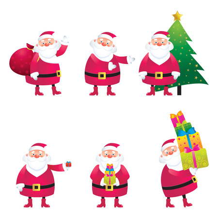 Collection of Santa Clauses in various poses