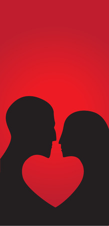 A girl and a man in profile form the heart symbol