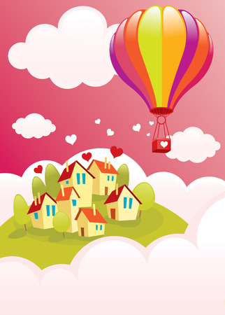 swooping: A bright balloon flying over the city.